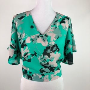 Japna Womens Cropped Top Green Floral Tie Back